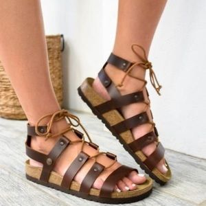 🆕 Birkenstock Cleo Cognac Leather gladiator
